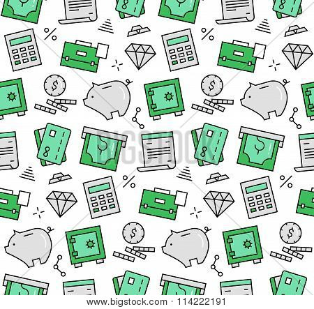 Finance Elements Seamless Icons Pattern