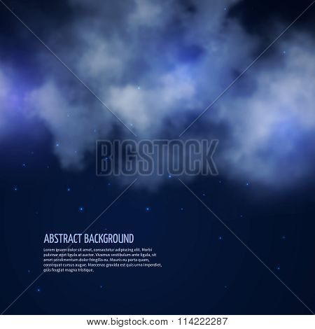 Night sky with stars and clouds vector abstract background