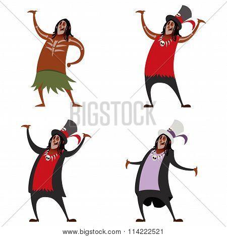 Set of voodoo sorcerers