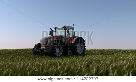 tractor in green spring field