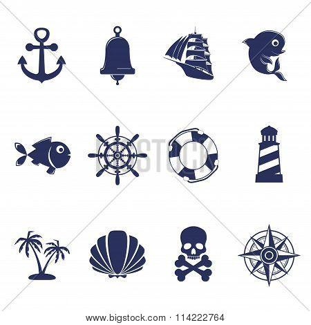 Blue marine symbols on white