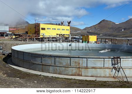 Pool To Collect Waste Thermal Water On Mutnovskaya Geothermal Power Station On Kamchatka