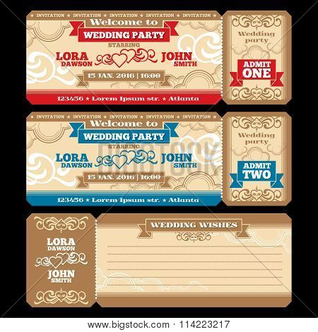 Vector ticket wedding invitation