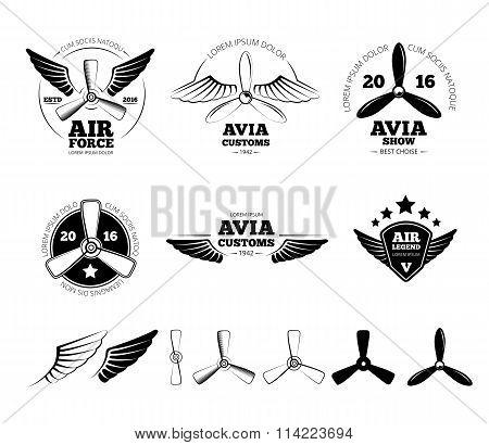 Vintage airplane vector labels, emblems and symbols set