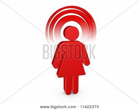 Red Spiritual Girl With Visible Color Aura