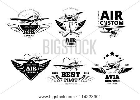 Airplane emblems vector labels