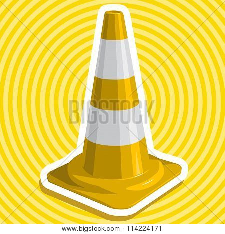 Golden yellow nice plastic traffic cone with outline border