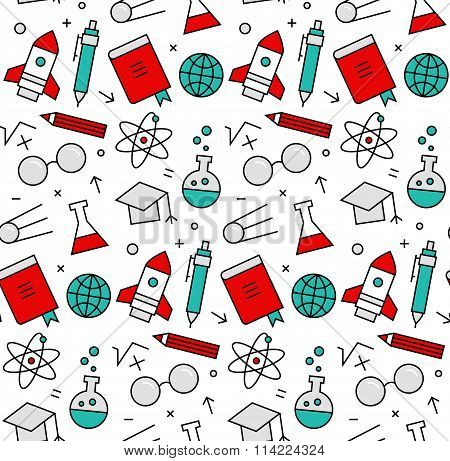 Science Elements Seamless Icons Pattern