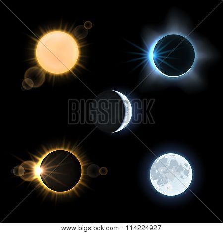 Sun moon and suns moons eclipse. Vector set