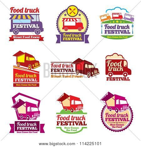 Street food festival color labels vector set