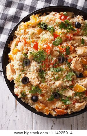 Couscous With Meat And Vegetables Close-up. Vertical Top View