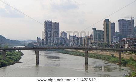 view of frontier cities Lao Cai and Hekou