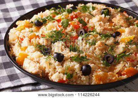 Arabic Cuisine: Couscous With Chicken And Vegetables Close-up. Horizontal