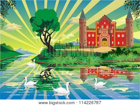 Landscape - Castle Over The River With Swans [