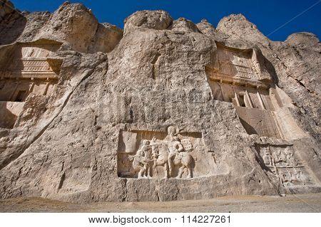 Historical Monuments Of Naqsh-e Rustam, Ancient Necropolis Near Persepolis, Iran.