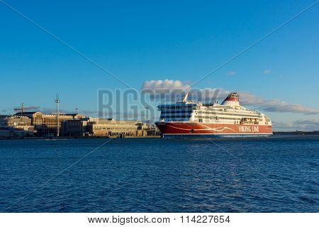 HELSINKI, FINLAND - DECEMBER 26, 2015: Viking Line ferry docks in the harbor on December 26, 2015 in Helsinki, Finland