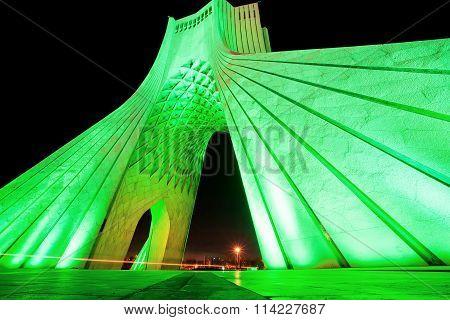 Green Lights Of Popular Azadi Tower At Night In Tehran.