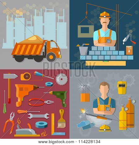 Construction Concept Workers Profession Welder Bricklayer Construction Tools