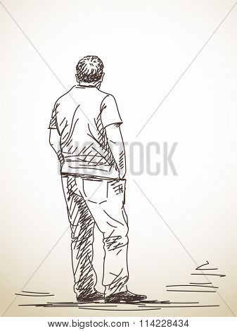 Sketch of standing man with hands in his pockets, Hand drawn illustration