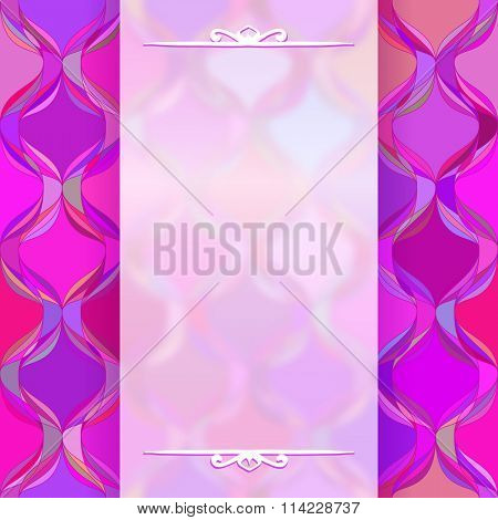 Transparent white banner on colorful magenta background, Template for design