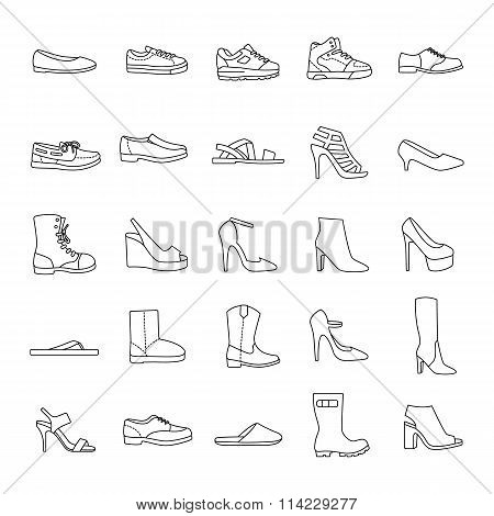 Shoes outlines vector icons