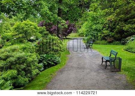 A gravel path running through the Halifax Public Gardens in Halifax, Nova Scotia, Canada