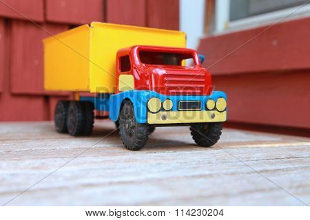 Close up shot of colorful toy truck