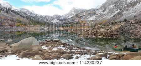 Panoramic view of Lake Sabrina in eastern Sierra mountains