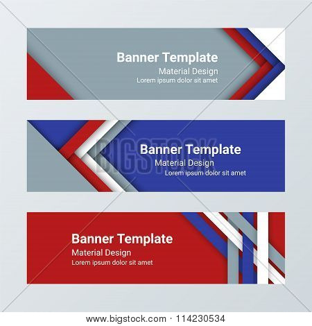 Set Of Modern Horizontal Vector Banners, Page Headers In A Material Design Style. Can Be Used As A B