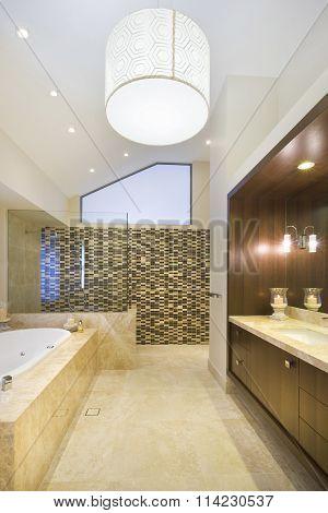Fashionable Bathroom With Marble Floor