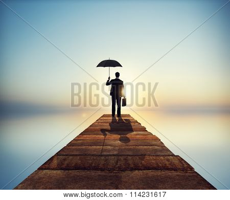 Lonely Businessman Alone Anxiety Stress Concept