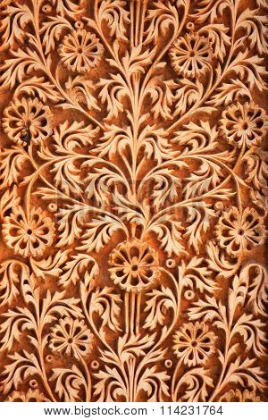 Intricate design carved on the walls of historic Paigah tombs in Hyderabad, Rajasthani and deccan style architecture