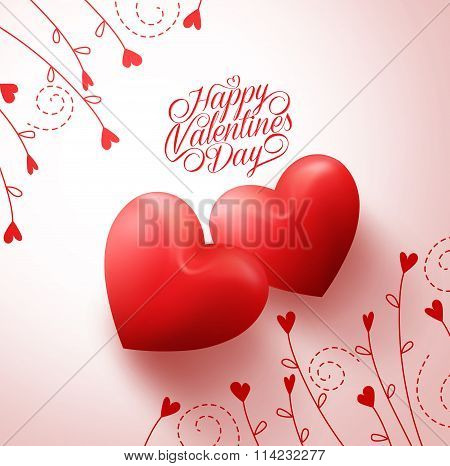 wo Red Hearts for Lovers with Happy Valentines Day Greetings