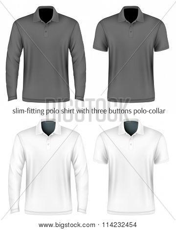 Men's slim-fitting polo shirt front view. Vector illustration. Fully editable handmade mesh.