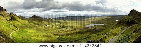 Quiraing mountain on isle of skye, Scotland by a beautiful summer day.