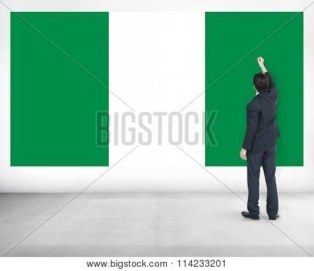 Businessman Nigeria National Flag Pride Concept