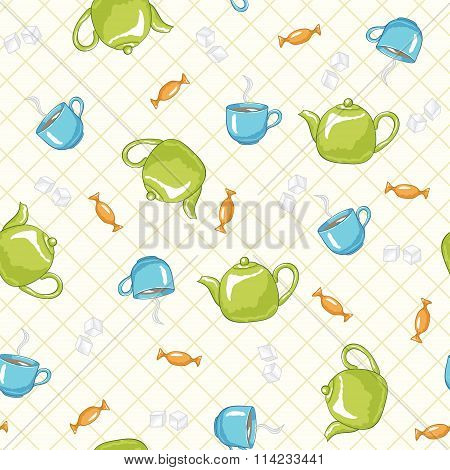 Teatime seamless pattern