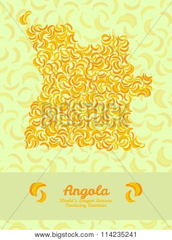 Map of Angola made out of yellow bananas.