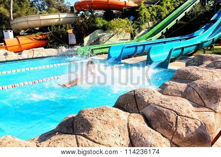 Women Having Fun In Aqua Park