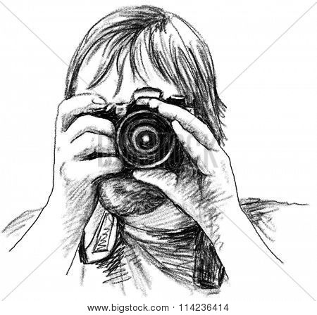 Photographer with photo camera Charcoal sketch
