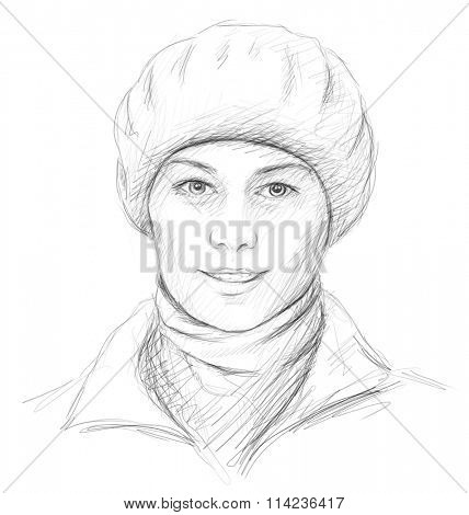 Hand drawn portrait of beautiful smiling woman in beret