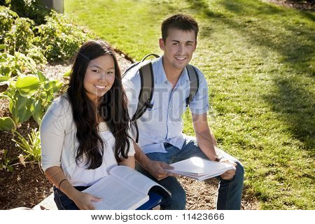 Attractive Students studying