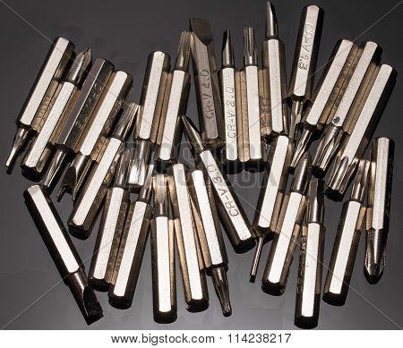 bits for screwdriver on black background