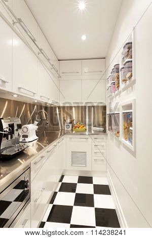 Small White Coloured Kitchen