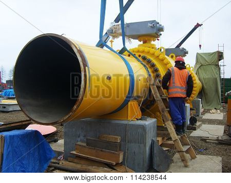 Russia, Sakhalin  - 12 November 2014: Construction of the gas pipeline on the ground. Transportation of energy carriers.