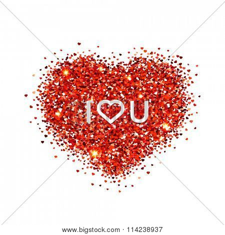 Valentines day illustration. I love you. Red vector heart shaped glitters.