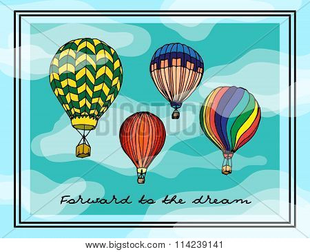 Painted Illustration. Multi-colored aerostats, Postcard.