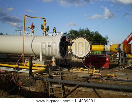Russia, Sakhalin  - 12 November 2014: Construction of the gas pipeline on the ground. Transportation of energy carriers. Concept of successful work.
