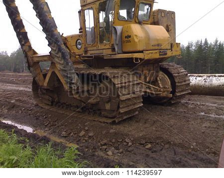 Catarpillar With The Crane. Equipment For Construction Works.