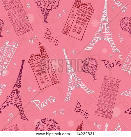Vector Pink Romantic Paris Streets Seamless Pattern with Eifel Tower, houses, trees and hearts.